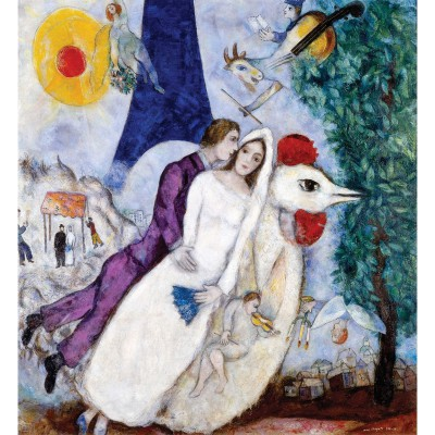 Puzzle-Michele-Wilson-W109-24 Jigsaw Puzzle - 24 Pieces - Wooden - Art - Chagall : The Bridal Pair with the Eiffel Tower