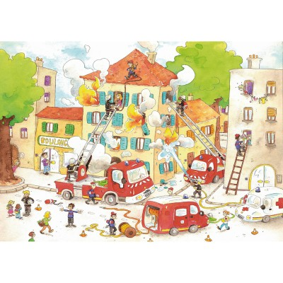 Puzzle-Michele-Wilson-W113-50 Jigsaw Puzzle - 50 Pieces - Wooden - Art - Cacouault : The Firemen