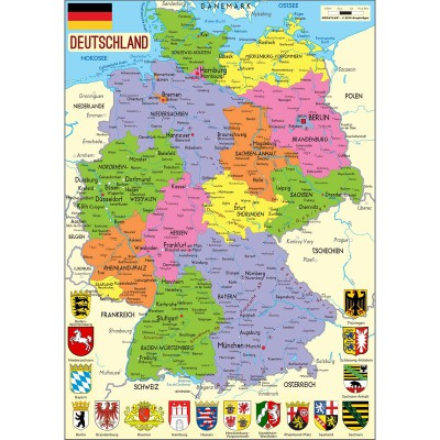 Puzzle-Michele-Wilson-W73-50 Jigsaw Puzzle - 50 Pieces - Art - Wooden - Michele Wilson : Map of Germany