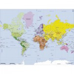 Puzzle-Michele-Wilson-W75-50 Jigsaw Puzzle - 50 Pieces - Wooden - Art - Geography : World Map