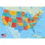 Puzzle-Michele-Wilson-W84-50 Wooden Jigsaw Puzzle - Map of the US