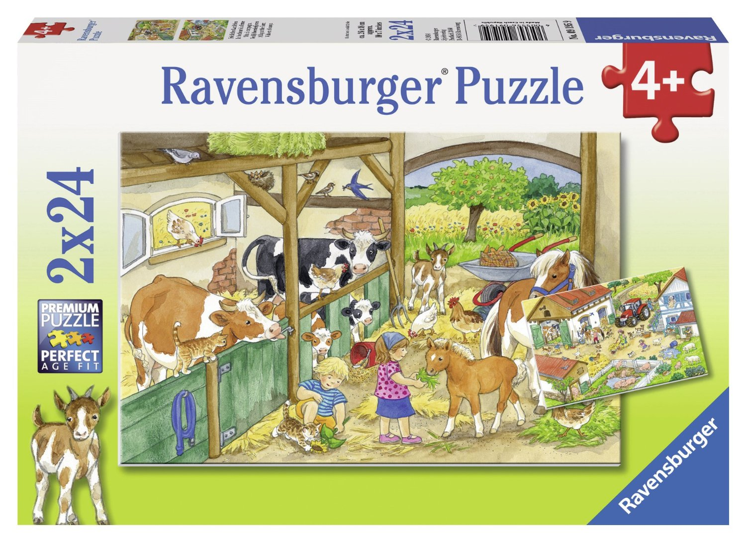 2 puzzles day at the farm ravensburger 09195 24 pieces. Black Bedroom Furniture Sets. Home Design Ideas