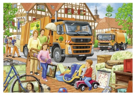 2 puzzles garbage trucks ravensburger 09192 24 pieces jigsaw puzzles cars and trades. Black Bedroom Furniture Sets. Home Design Ideas