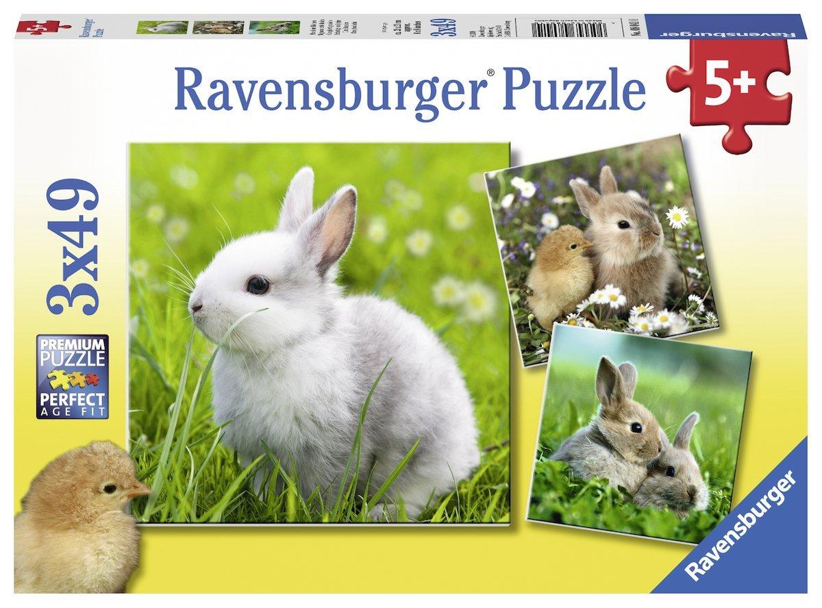 3 Puzzles Cute Bunny Ravensburger 08041 49 Pieces Jigsaw Puzzles Farm Animals Jigsaw Puzzle