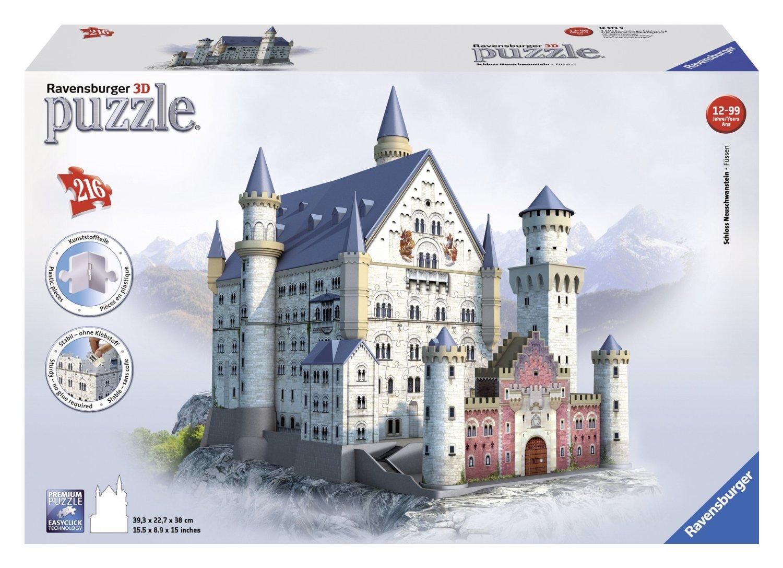 3d jigsaw puzzle neuschwanstein castle ravensburger 12573 216 pieces jigsaw puzzles. Black Bedroom Furniture Sets. Home Design Ideas