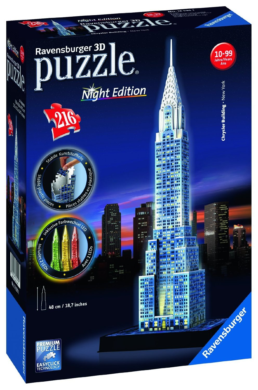3d Jigsaw Puzzle With Led Chrysler Building Ravensburger