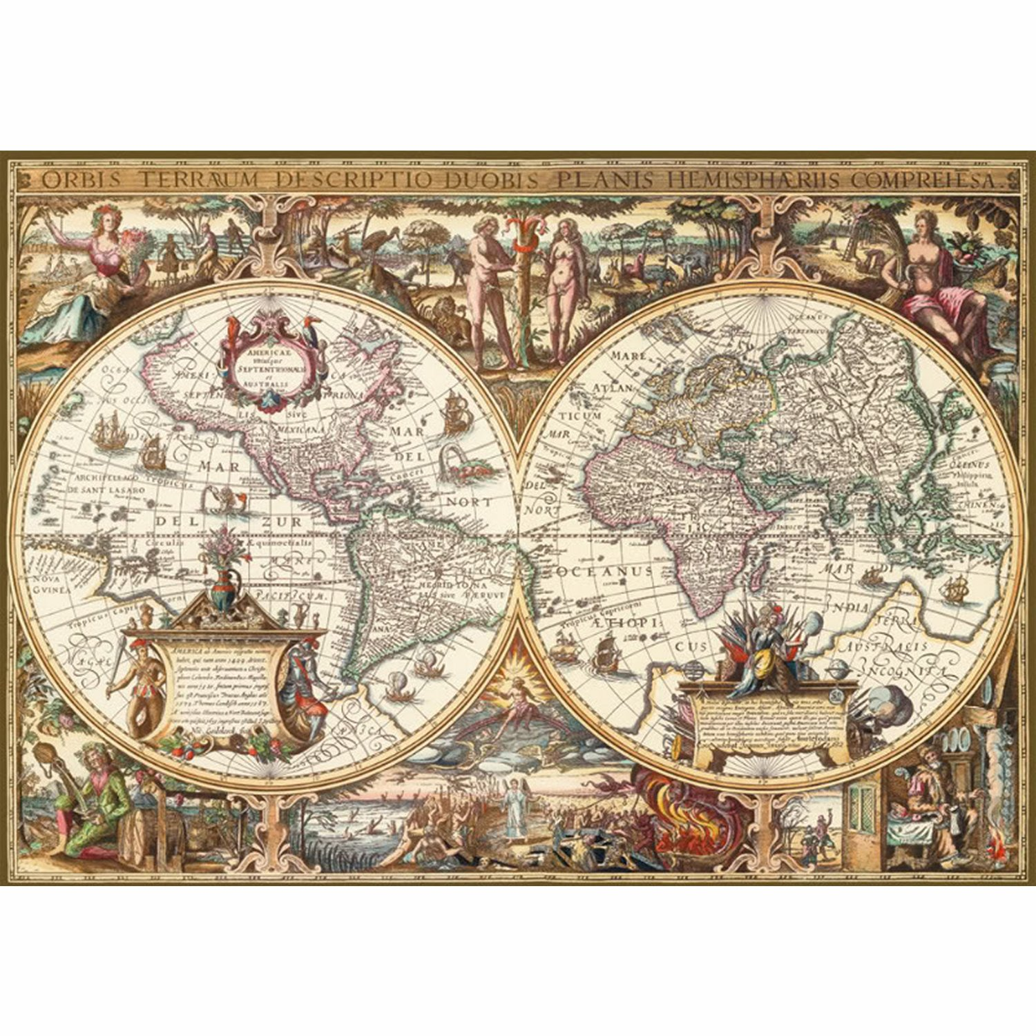 Jigsaw puzzle 1000 pieces print wood antic map of the world gumiabroncs