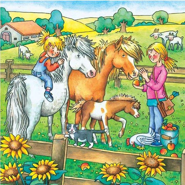Jigsaw Puzzles - 49 Pieces each - 3 in 1 - Farm Animals