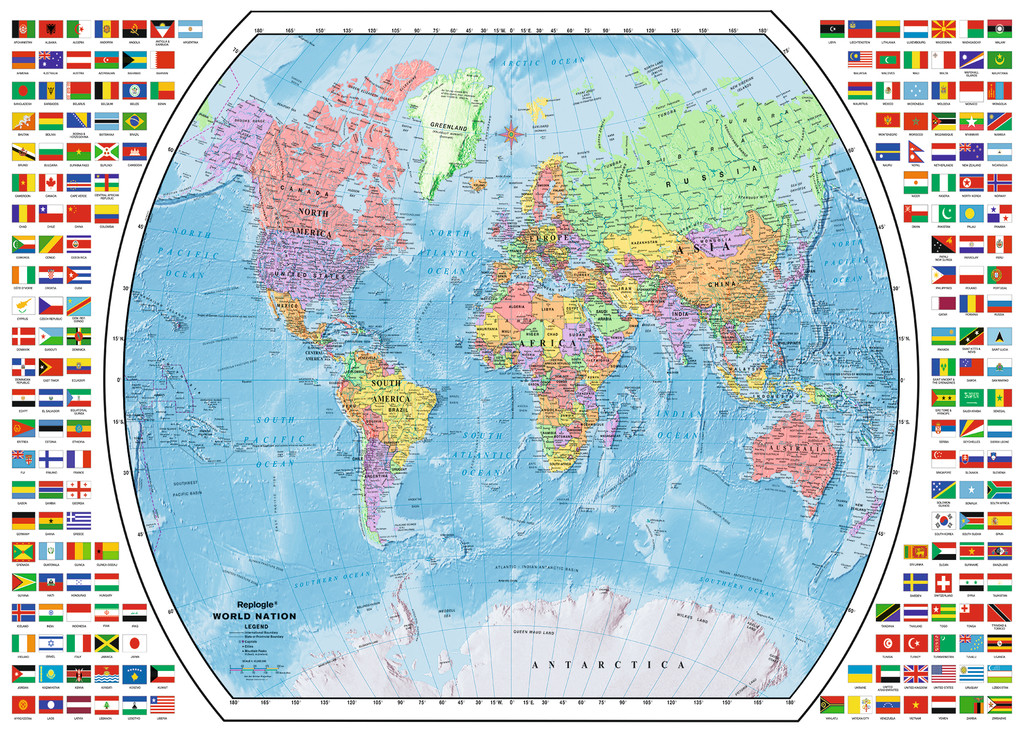 Puzzle Political World Map Ravensburger-19633 1000 pieces Jigsaw ...