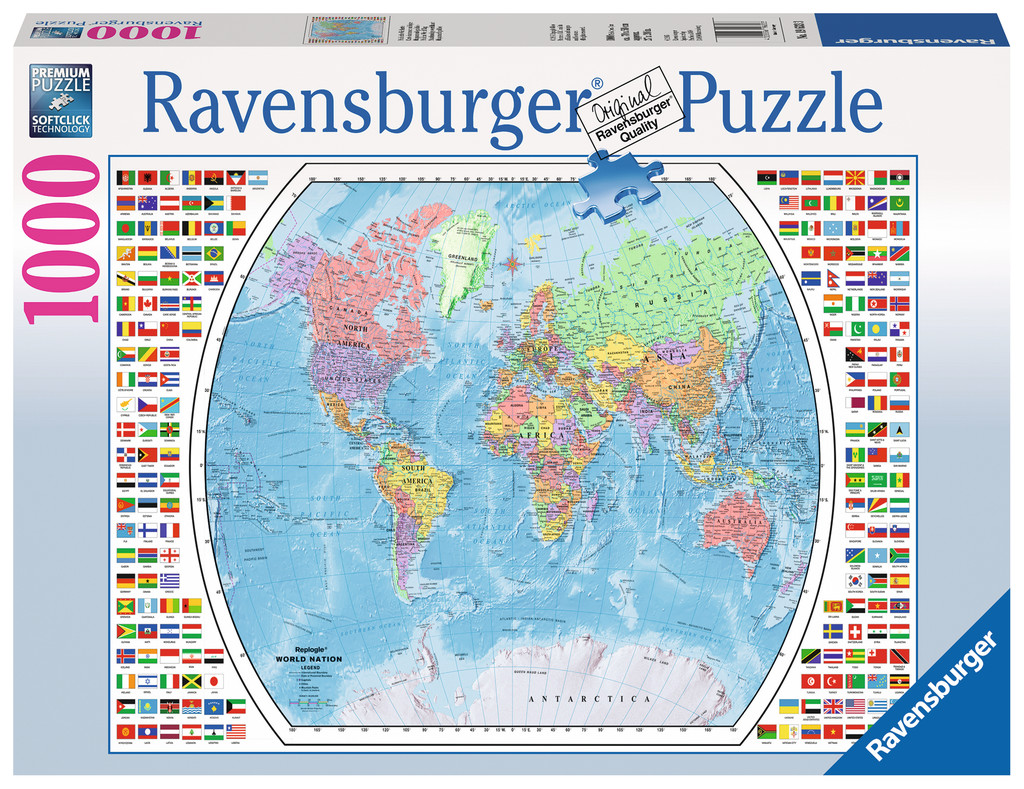 Puzzle political world map ravensburger 19633 1000 pieces jigsaw political world map political world map gumiabroncs Image collections