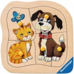 Ravensburger-03233 Wooden Jigsaw Puzzle - Cat and Dog