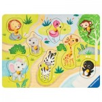 Ravensburger-03687 Wooden Jigsaw Puzzle - In the Zoo