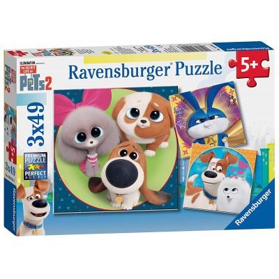 Ravensburger-05014 XXL Pieces - 3 Puzzles - The Secret Life of Pets 2