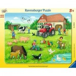 Ravensburger-05024 Frame Puzzle - Summer Day on the Farm