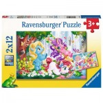 Ravensburger-05028 2 Puzzles - Magical Unicorn World