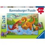 Ravensburger-05030 2 Puzzles - Dinosaurs