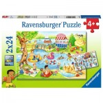 Ravensburger-05057 2 Puzzles - Recreation at the Lake