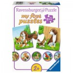 Ravensburger-05072 9 Puzzles - Animal Families on the Farm