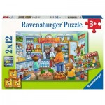 Ravensburger-05076 2 Puzzles - At the Grocer's