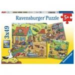 Ravensburger-05078 3 Puzzles - The Farm