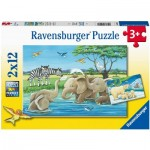 Ravensburger-05095 2 Puzzles - Baby Animals from All Over the World