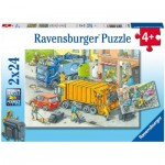 Ravensburger-05096 2 Puzzles - Rubbish Collection And Tow Truck
