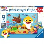 Ravensburger-05123 2 Puzzles - Baby Shark Explores