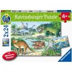 Ravensburger-05128 2 Puzzles - Dinosaurs and their Habitats