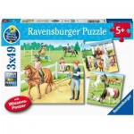 Ravensburger-05129 3 Puzzles - A Day at the Riding School