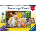 Ravensburger-05144 2 Puzzles - Little Cuddle Time