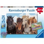 Ravensburger-05148 2 Puzzles - Horses