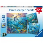 Ravensburger-05149 3 Puzzles - Ocean Animals