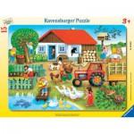 Ravensburger-06020 Frame Puzzle - Farm