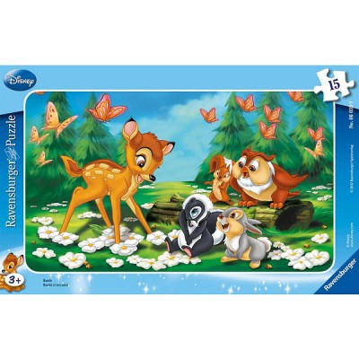 Ravensburger-06039 Frame Puzzle - 15 Pieces - Bambi and his Friends