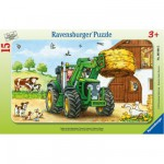Ravensburger-06044 Jigsaw Puzzle - 15 Pieces - Frame Puzzle : Tractor at the Farm