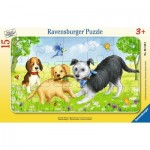 Ravensburger-06130 Frame Jigsaw Puzzle - Playing Puppies