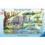 Ravensburger-06136 Frame Jigsaw Puzzle - Animals of Africa