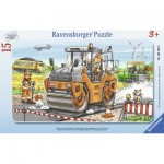 Ravensburger-06139 Frame Jigsaw Puzzle - Work with Road Roller