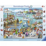 Ravensburger-06152 Frame Puzzle - One Day at the Harbor