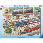 Ravensburger-06161 Frame Puzzle - At the Train Station