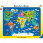 Ravensburger-06641 Jigsaw Puzzle - 30 Pieces - Frame Puzzle : Animals of the World