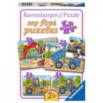 Ravensburger-06946 4 Puzzles - My first Puzzles - My favorite construction vehicles