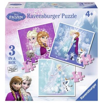 Ravensburger-07003 3 Jigsaw Puzzles - Frozen