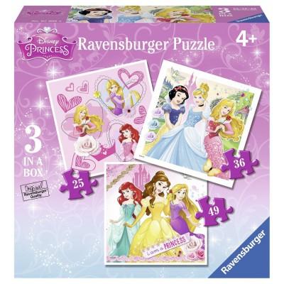 Ravensburger-07008 3 Jigsaw Puzzles - Disney Princess