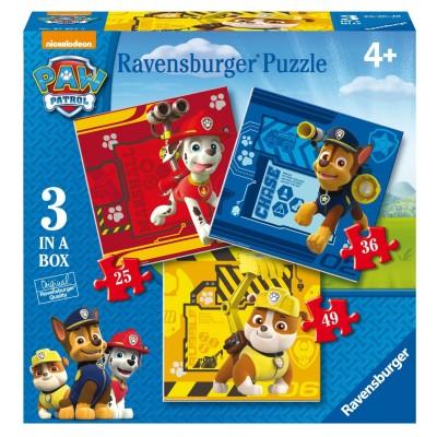 Ravensburger-07057 3 Jigsaw Puzzles - Paw Patrol