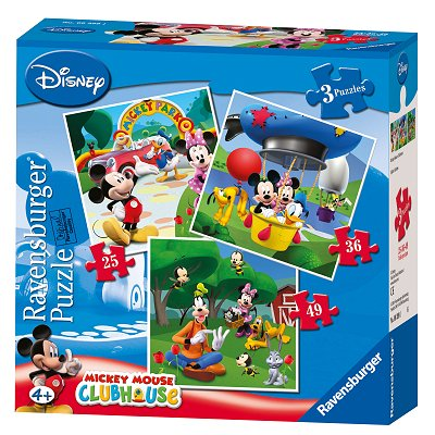 Ravensburger-07088 Jigsaw Puzzles - 25, 36, 49 Pieces - Progressive Puzzle - 3 in 1 - Mickey Mouse Clubhouse