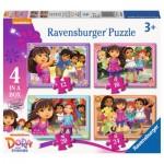 Ravensburger-07160 4 Jigsaw Puzzles - Dora