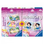 Ravensburger-07228 3 Puzzles + Memory Princess
