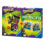 Ravensburger-07287 3 Jigsaw Puzzles Ninja Turtles + Memory