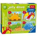 Ravensburger-07289 4 Jigsaw Puzzles - Jolly Dinos